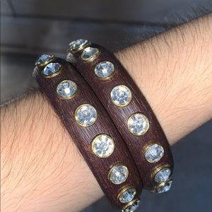 Betsey Johnson Wooden Rhinestone Bracelets (2)